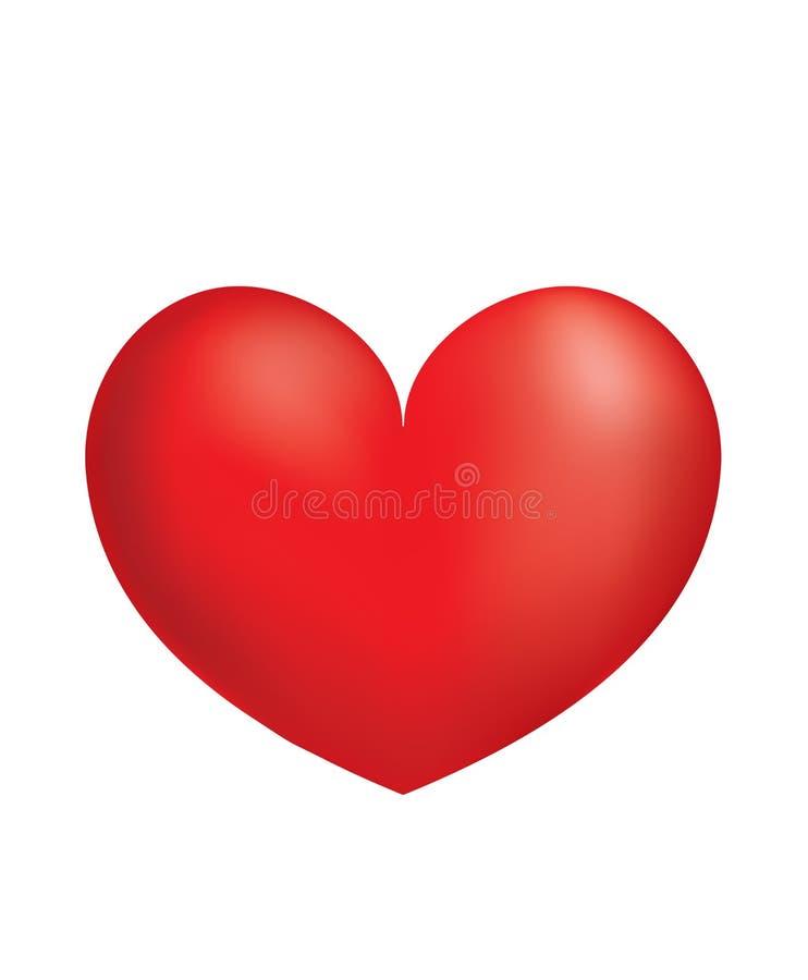 Czerwony 3D serce ilustracja wektor