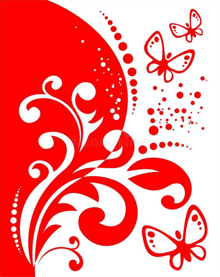 czerwony dekoracji motyla royalty ilustracja