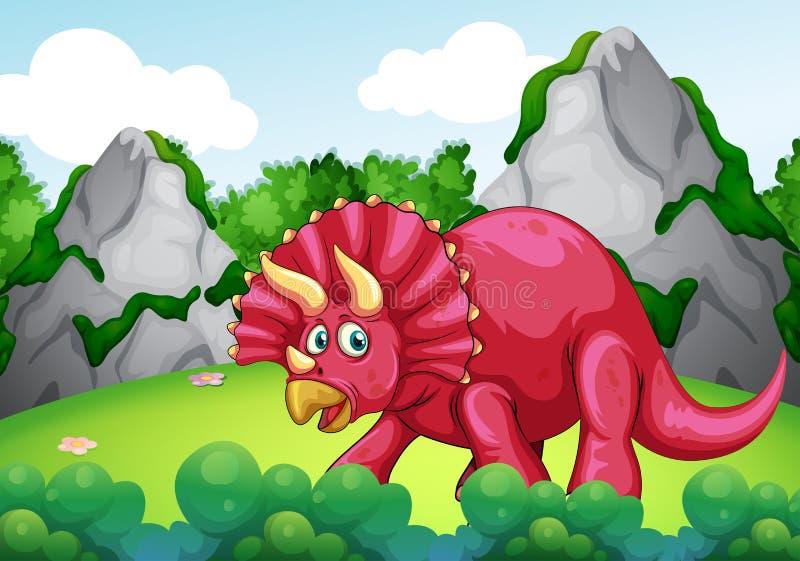 Czerwony dinosaur w parku ilustracji