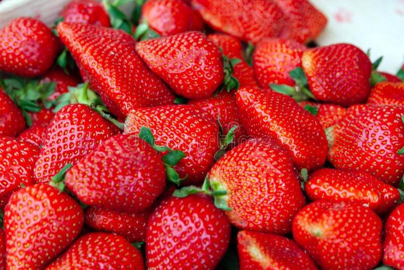 Czerwony dojrzały, apetyczny truskawkowy zbliżenie jako tło, obraz royalty free