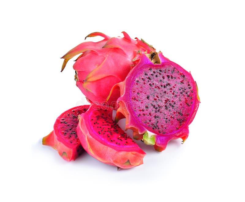 Czerwony dragonfruit na białym tle zdjęcia royalty free