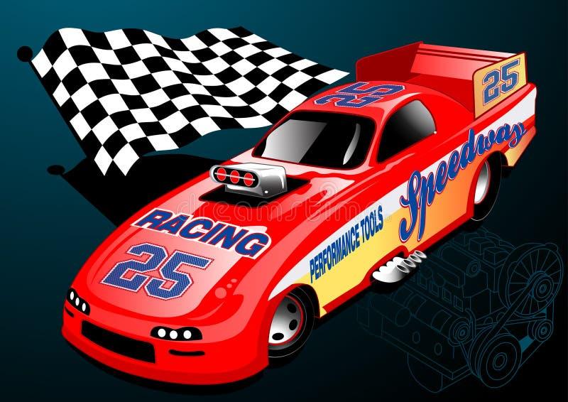 Czerwony Dragster bieżny samochód z chequered flaga ilustracji