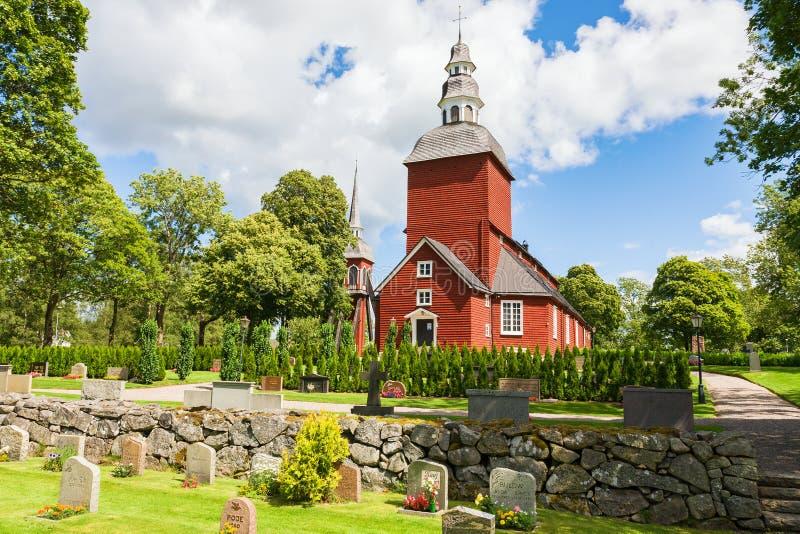 Czerwony drewniany kościół obraz royalty free