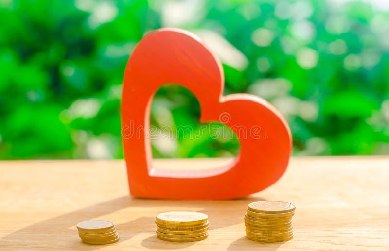 Czerwony drewniany serce i pieniądze Pojęcie oszczędzania i akumulacji pieniądze Zdrowie dobroczynność darowizna Zakupy walentynk obraz royalty free
