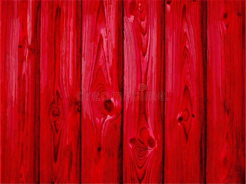 Czerwony drewniany tło - wektor Stary drewniany malujący tło royalty ilustracja