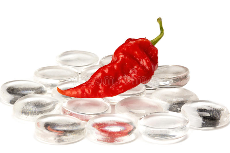 Czerwony ducha Chili na szkle zdjęcia stock