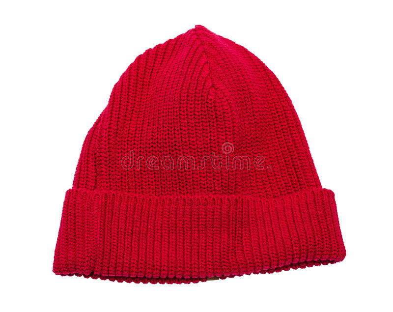 Czerwony dzianina kapelusz odizolowywający zdjęcie royalty free