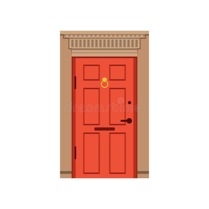 Czerwony dzwi wejściowy mieścić, zamknięta elegancka drzwiowa wektorowa ilustracja royalty ilustracja