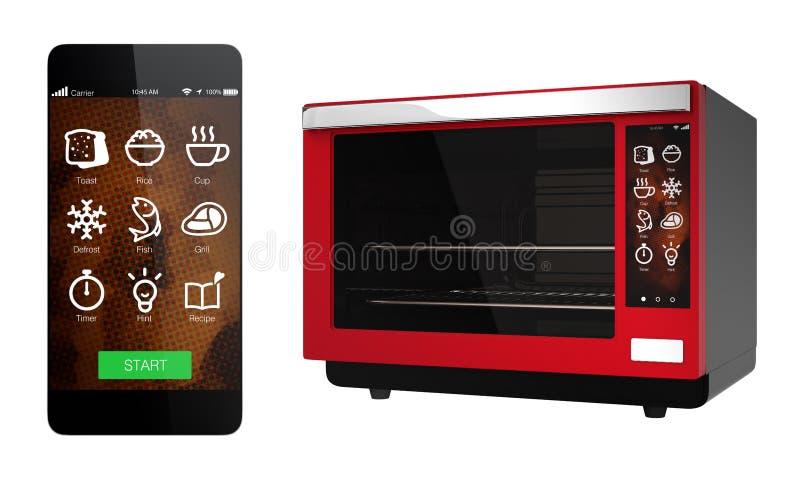 Czerwony elektryczny piekarnik i mądrze telefon odizolowywający na białym tle ilustracja wektor