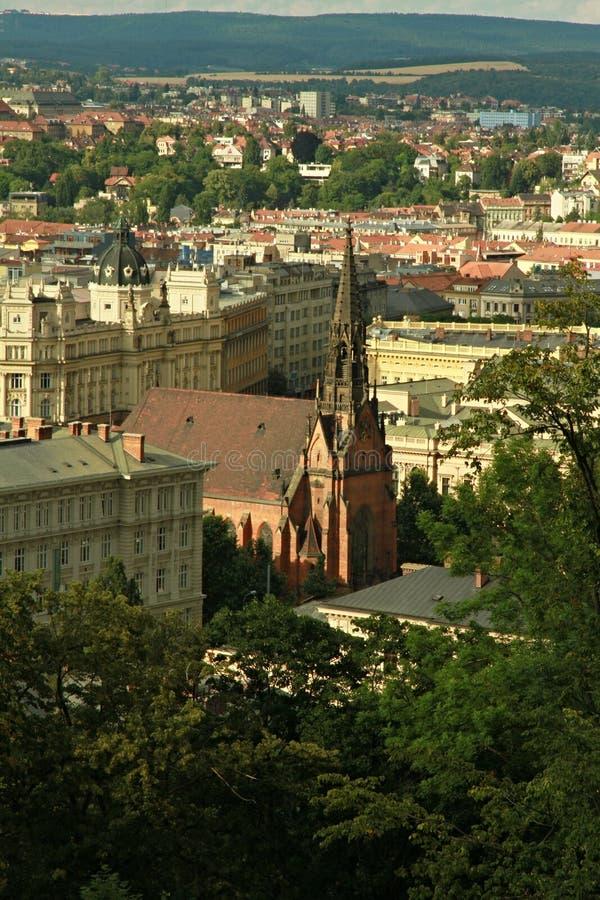 Czerwony Ewangelicki kościół John Amos Comenius w Brno fotografia royalty free