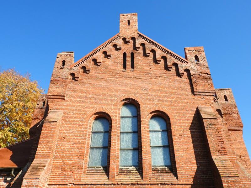 Czerwony Ewangelicki Luterański kościół, Lithuania zdjęcie stock