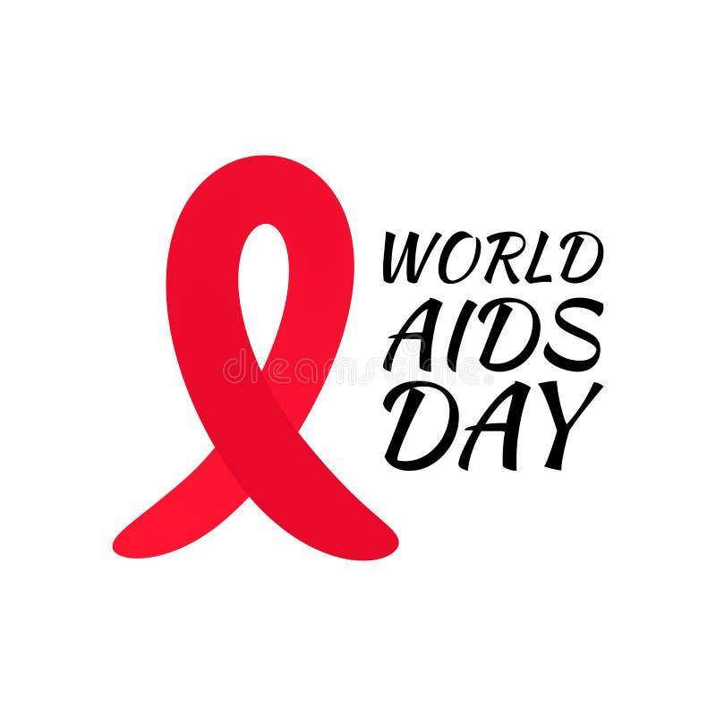 Czerwony faborek świat POMAGA dzień Jaskrawego nowotwór świadomości miesiąca medyczny sztandar ilustracji