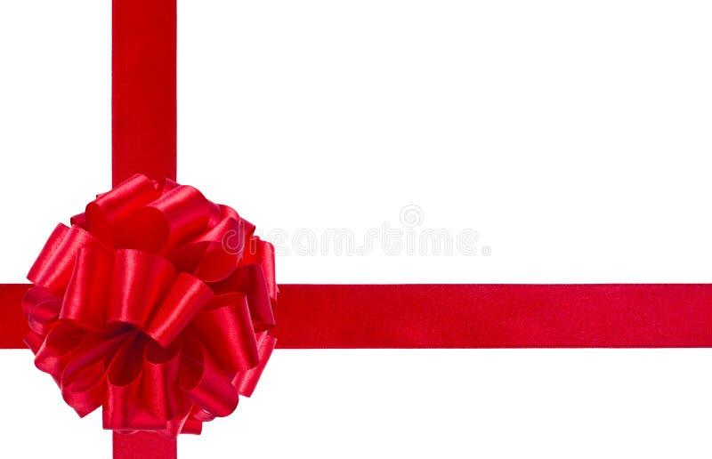 Czerwony faborek i łęk, prezenta pudełka pojęcie fotografia stock