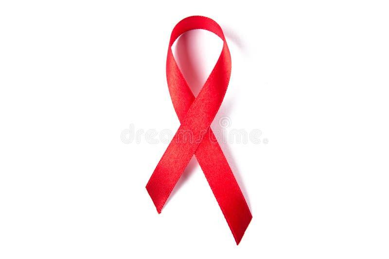 Czerwony faborek jako symbol odizolowywający na bielu pomocy świadomość zdjęcie stock