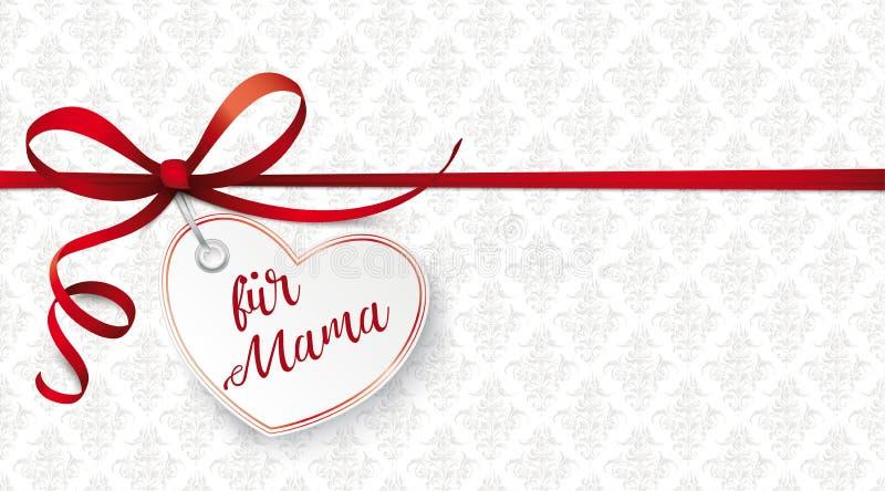 Czerwony faborek Ornamentuje Kierowego fuer Mama ilustracji