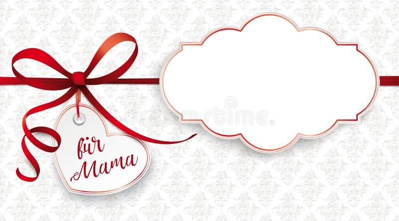 Czerwony faborek Ornamentuje Kierowego fuer Mama Klasyk Przylepiający etykietkę ilustracji