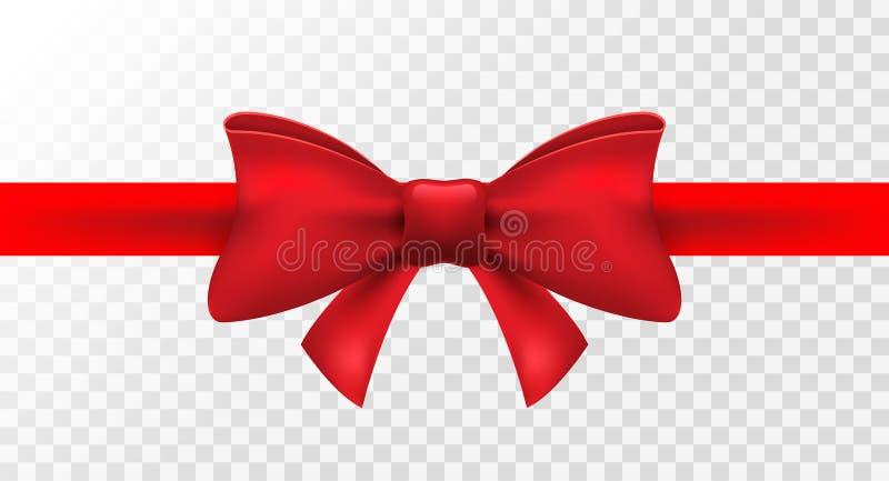 Czerwony faborek z czerwonym łękiem Wektor odizolowywająca łęk dekoracja dla wakacje teraźniejszości Prezenta element dla karcian ilustracji