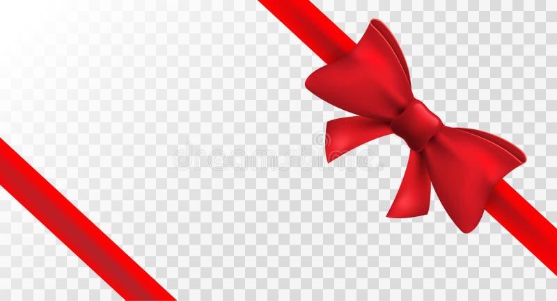 Czerwony faborek z czerwonym łękiem Wektor odizolowywająca łęk dekoracja dla wakacje teraźniejszości Prezenta element dla karcian royalty ilustracja