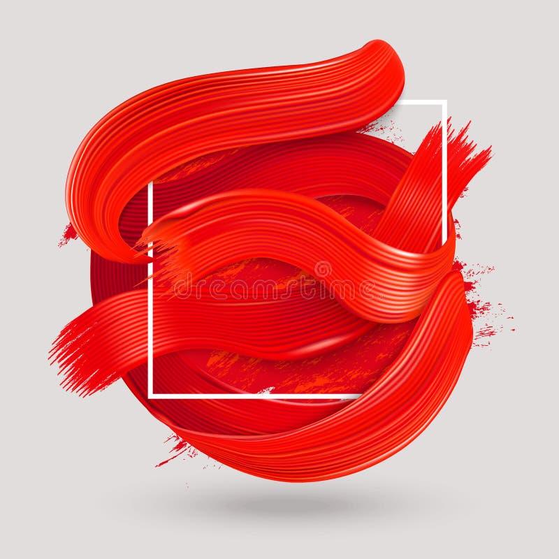 Czerwony farby muśnięcia uderzenie ilustracja wektor