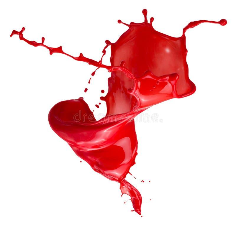 Czerwony farby pluśnięcie odizolowywający na białym tle obrazy royalty free