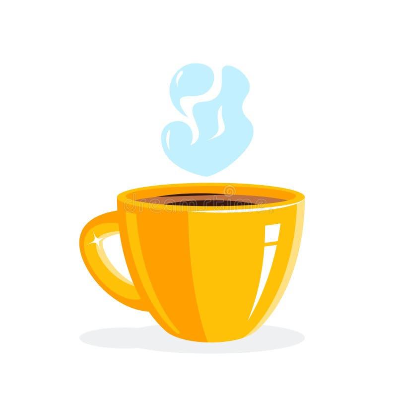 Czerwony fili?anka kawy lub czarna herbata, wektor ilustracji
