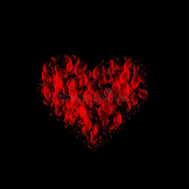 Czerwony flamy walentynki serce royalty ilustracja