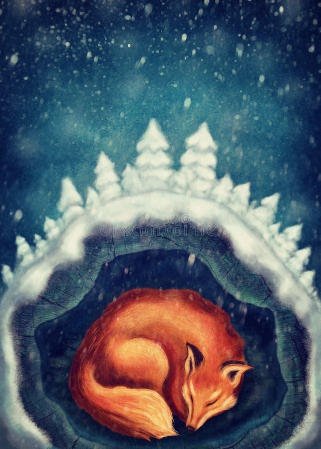 Czerwony Fox Spać ilustracja wektor