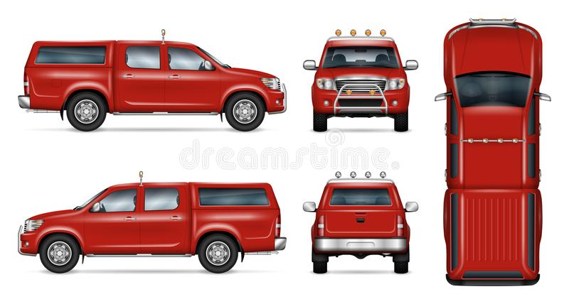 Czerwony furgonetka wektoru szablon ilustracji