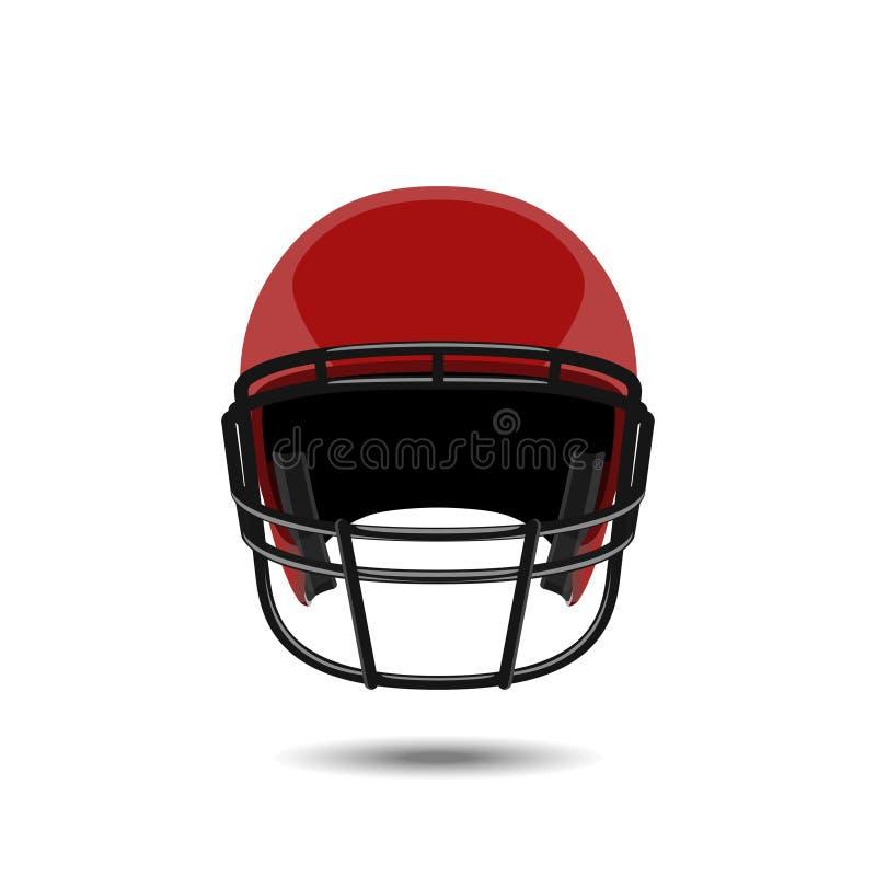 Czerwony futbolu amerykańskiego hełm na białym tle Bawi się ochronę w realistycznym stylu ilustracja wektor