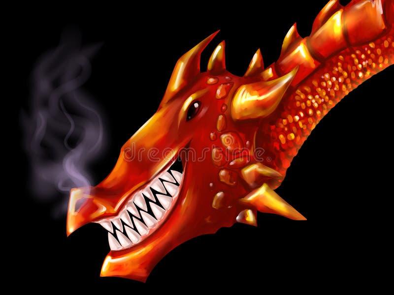 czerwony głowy smoka royalty ilustracja