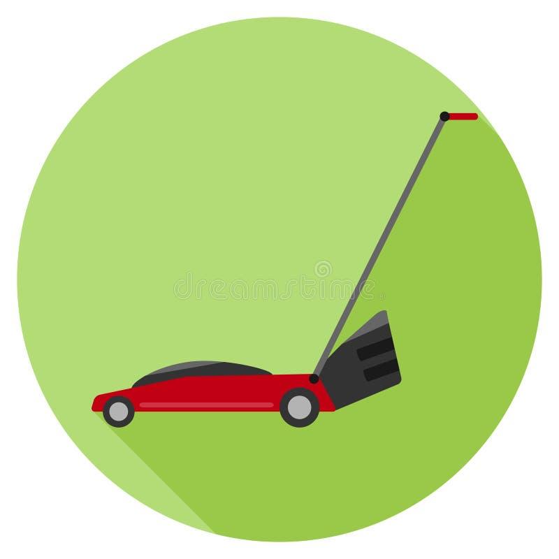 Czerwony gazonu kosiarz na zielonym tle z cieniem ilustracji