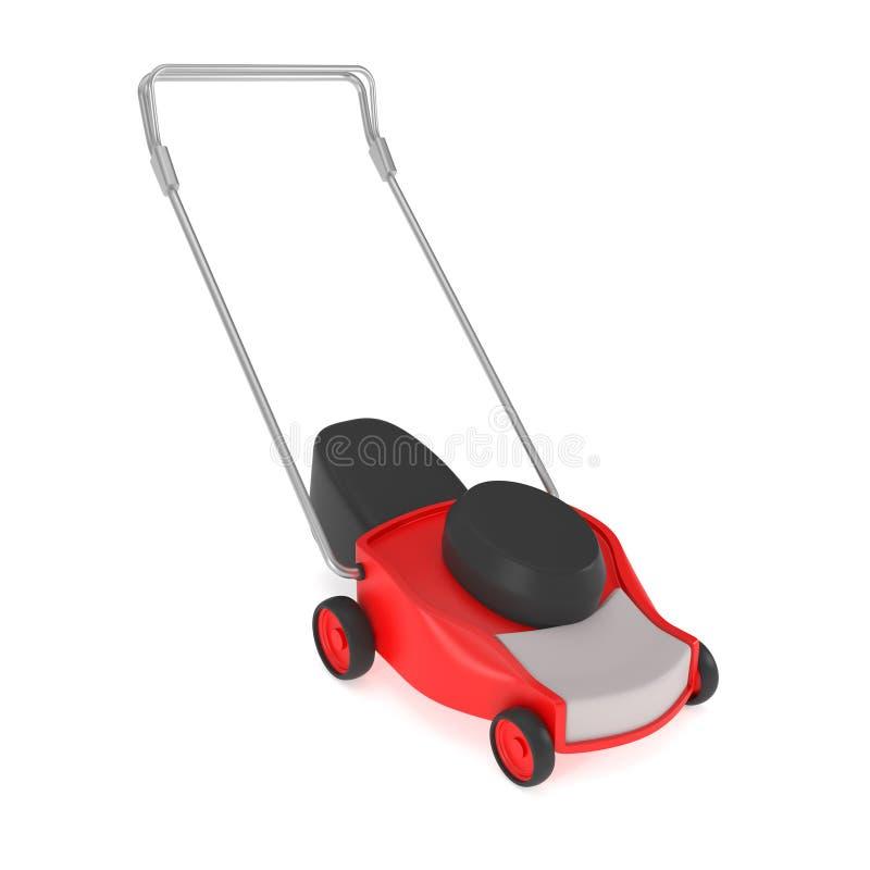 Czerwony gazonu kosiarz z trawa łapaczem odizolowywającym na bielu ilustracji
