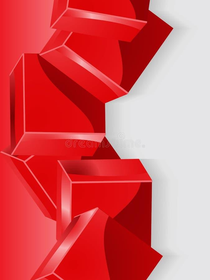 Czerwony geometryczny sześcianu 3D portreta tło ilustracja wektor