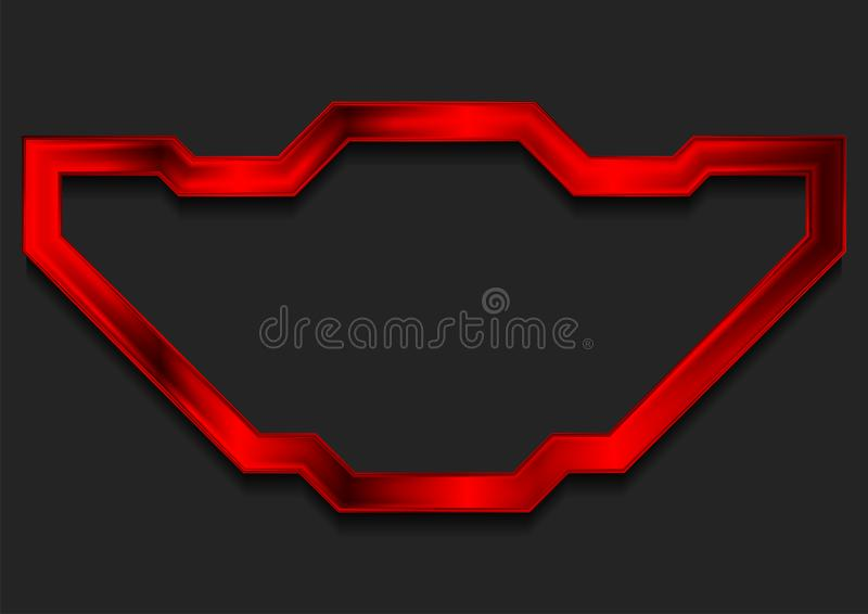 Czerwony glansowany technologii ramy abstrakta tło ilustracji