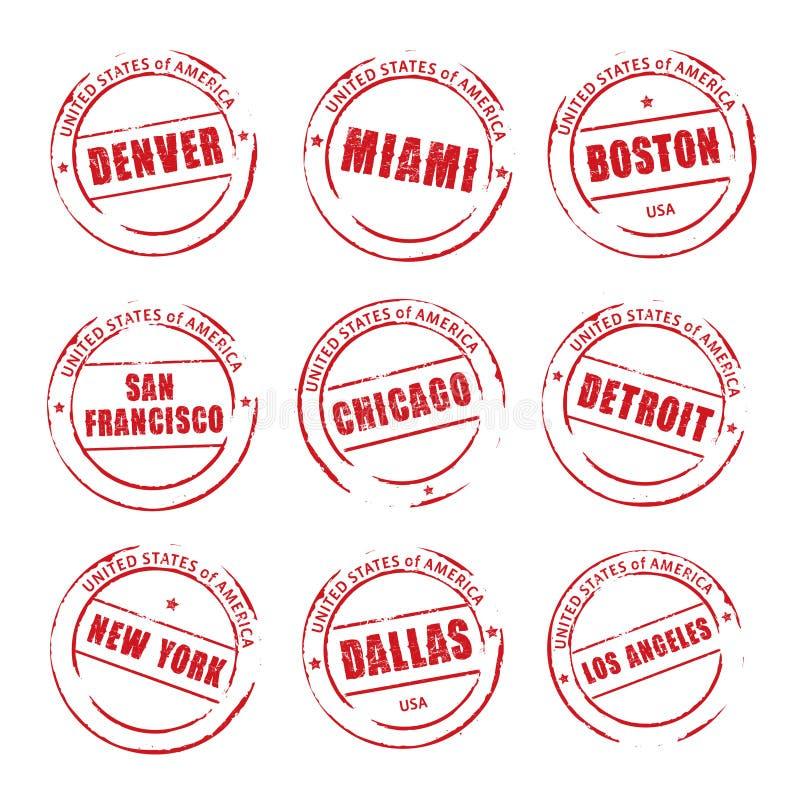 Czerwony grunge znaczek, Amerykańscy miasta Denver, Miami, Boston, royalty ilustracja