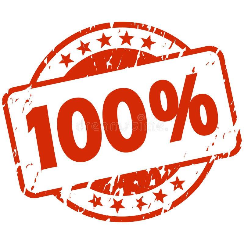 czerwony grunge znaczek z sztandarem 100 ilustracja wektor