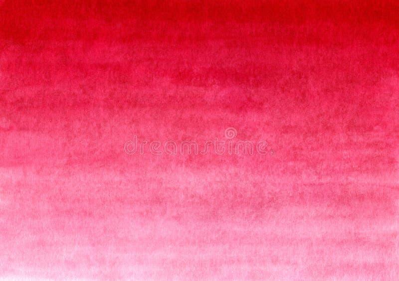 Czerwony handmade malujący akwareli gradientowy tło na textured papierze zdjęcia stock