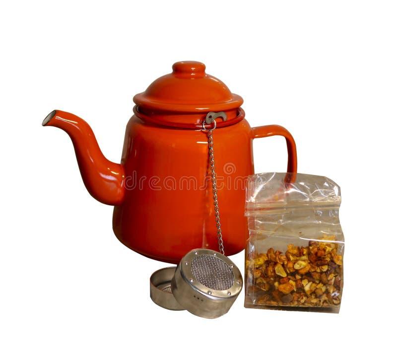 Czerwony herbaciany garnek odizolowywający na białym tle obrazy royalty free