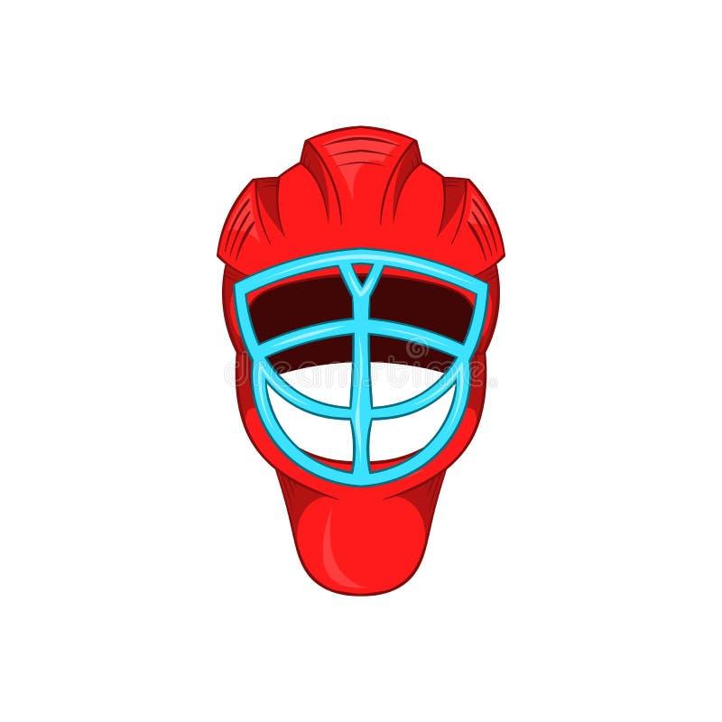 Czerwony hokejowy hełm z klatki ikoną, kreskówka styl ilustracji