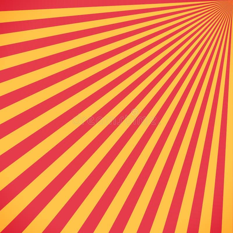 Czerwony i żółty sunburst okrąg i tło wzór royalty ilustracja