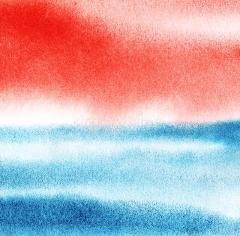 Czerwony i błękitny istny akwareli tło szczotkarski węgiel drzewny rysunek rysujący ręki ilustracyjny ilustrator jak spojrzenie r fotografia stock