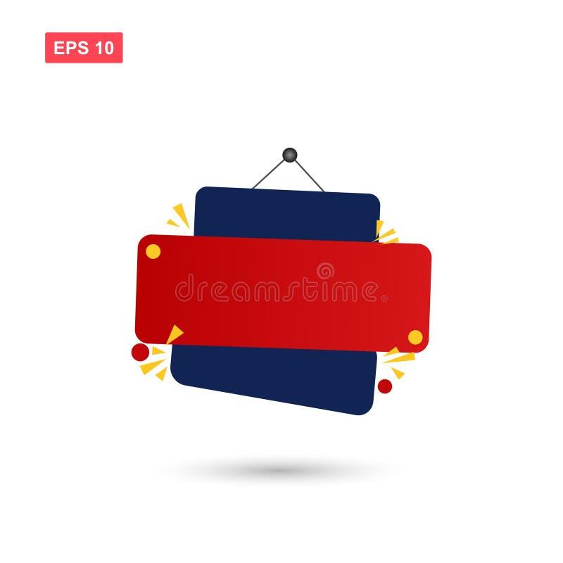 Czerwony i błękitny teksta pudełka wektorowy projekt odizolowywał 2 ilustracji