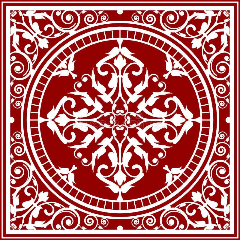 Czerwony i biały azjatykci dywanik ilustracji