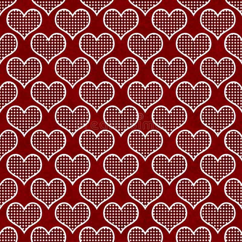 Czerwony i Biały polki kropki serc wzoru powtórki tło zdjęcia stock
