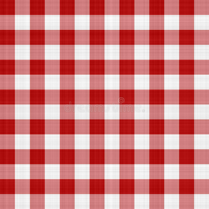 Czerwony i Biały Pykniczny Tablecloth ilustracja wektor