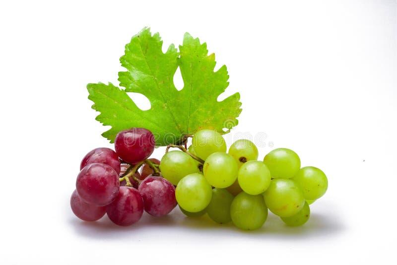 Czerwony I Biały winogrono Gromadzi się Z liścia zakończeniem obrazy stock