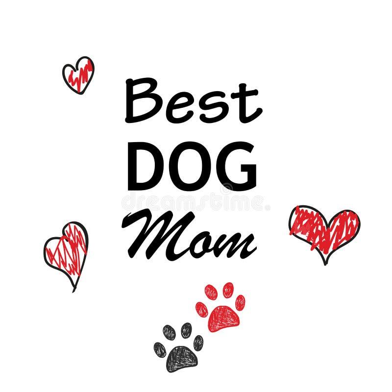 Czerwony i czarni łapy serce i druk Najlepszy Psi mama tekst Szczęśliwy macierzysty ` s dnia tło royalty ilustracja