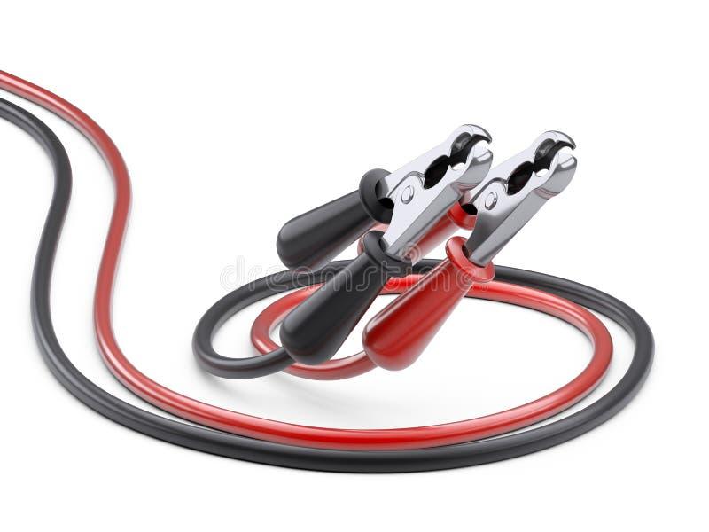 Czerwony i czarny bluza kabel dla samochodowej baterii Źródło zasilania drut royalty ilustracja