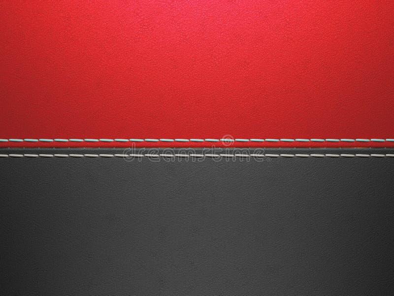 Czerwony i czarny horyzontalny zaszyty rzemienny tło ilustracji