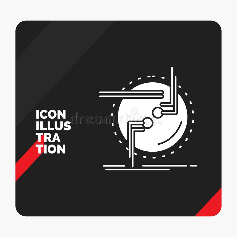 Czerwony i Czarny Kreatywnie prezentacji tło dla łańcuchu, łączy, związek, połączenie, druciana glif ikona royalty ilustracja